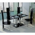 4 Seat Black Glass and Chrome Black, Red or White Faux Leather Dining Set