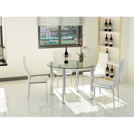 Modern Round Clear Glass and Chrome Dining Set with 4 Black, Red or White Chairs