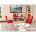Modern Round Clear Glass with Black Trim and Chrome Dining Set with 4 Black, Red or White Chairs