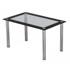 4 Seater Black and Clear Glass Dining Table