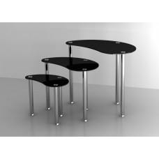 Set of 3 Glass Nesting Tables with Stainless Steel legs in Black
