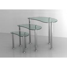 Set of 3 Glass Nesting Tables with Stainless Steel legs in Clear