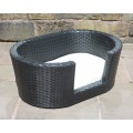 Small, Medium or Large Rattan Dog Basket in Black, Brown or Grey