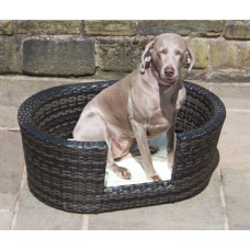 Small, Medium or Large Rattan Dog Basket in Black, Brown or Grey