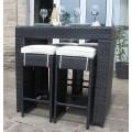4 Seat Rattan Bar Set in Black