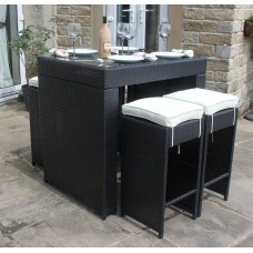 Vienna 4 Seat Rattan Bar Set in Black