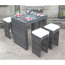 Vienna 4 Seat Rattan Bar Set in Mixed Brown