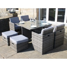 All Weather Rattan Garden Furniture Deluxe 9 Cube Set in Grey