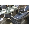 Luxury Grey Rattan 6 Seat Oval Dining Set
