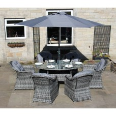 Luxury Grey Rattan 6 or 8 Seat Oval Dining Set