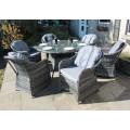 Luxury Grey Rattan 6 Seat Round Dining Set