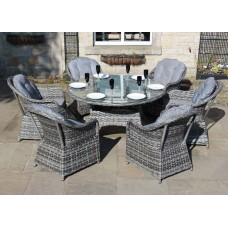 Luxury Grey Rattan 6 Seat Round Dining Set
