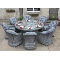Luxury Grey Rattan 8 Seat Round Dining Set