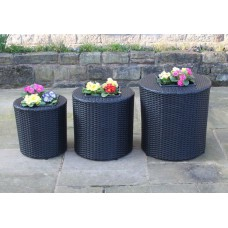 Set of 3 Rattan Garden Furniture Round Flower Pots Planters in Black or Brown