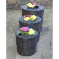 Set of 3 Rattan Garden Furniture Round Flower Pots Planters in Black or Brown