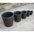 Hand Woven Set of 5 Rattan Round Flower Pots Planters Garden Furniture