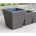 Hand Woven Set of 5 Rattan Square Flower Pots / Planters Garden Furniture