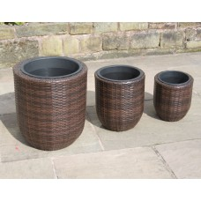Set of 3 Hand Woven Round Rattan Flower Pots / Planters Garden Furniture