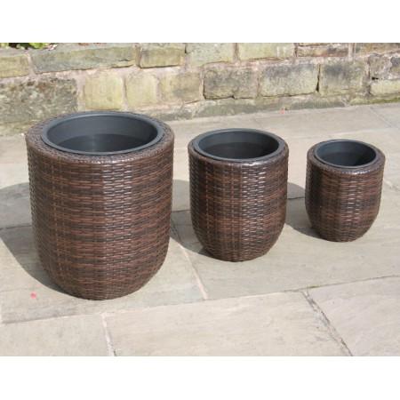 Set of 3 Hand Woven Round Rattan Flower Pots / Planters Garden Furniture