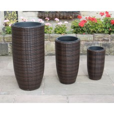 Set of 3 Hand Woven Tall Round Rattan Flower Pots / Planters Garden Furniture