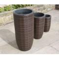 Set of 3 Hand Woven Tall Round Rattan Flower Pots / Planters Garden Furniture