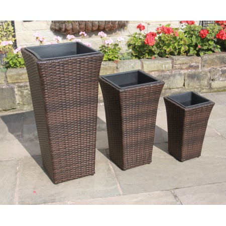 Hand Woven Set of 3 Tall Rattan Flower Pots / Planters Garden Furniture
