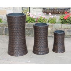 Hand Woven 3 Tall Rattan Flower Pots / Planters Garden Furniture Accessories