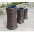 Hand Woven 3 Tall Rattan Flower Pots / Planters Garden Furniture Accessories