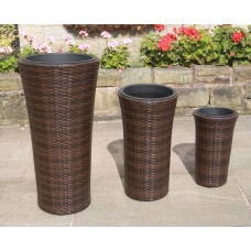 Set of 3 Tall Hand Woven PE Rattan Flower Pots / Planters Garden Furniture