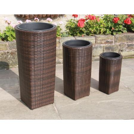 Set of 3 PE Rattan Tall Hand Woven Flower Pots / Planters Garden Furniture