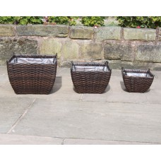Set of 3 Hand Woven Rattan Hanging Baskets Flower Pots Planters Garden Furniture