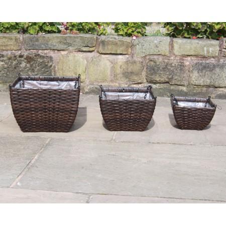 Set of 3 Hand Woven Rattan Hanging Baskets Flower Pots Planters Garden Furniture