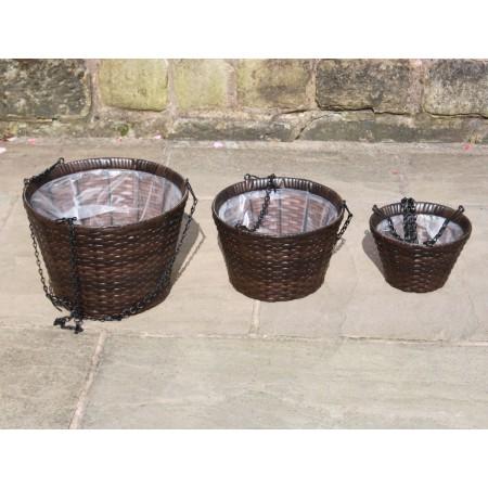 Set of 3 Hand Woven Rattan Round Hanging Basket Flower Planters Garden Furniture