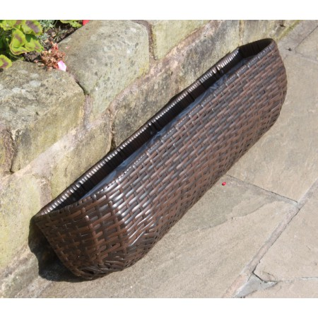 Rattan Hand Woven Long Hanging Wall Basket Flower Pots Planters Garden Furniture