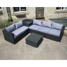 Rattan Outdoor Garden Furniture Corner Sofa with Storage Box in Black