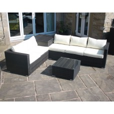 Rattan Outdoor Corner Sofa with Storage Box in Brown
