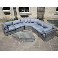 Luxury Grey Rattan Curved Corner Sofa Set
