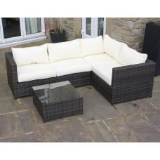 Weatherproof Rattan Outdoor Corner Sofa Set Patio Garden Furniture in Brown