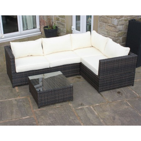 Weatherproof Rattan Outdoor Corner Sofa Set Patio Garden Furniture in Brown