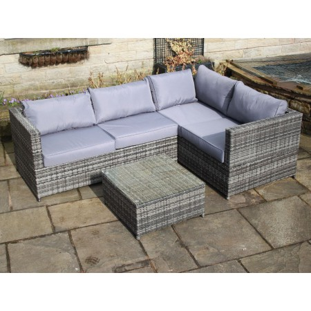Weatherproof Rattan Outdoor Corner Sofa Set Patio Garden Furniture in Grey