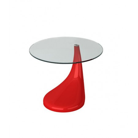 Contemporary High Gloss Glass Coffee / Side Table in Red