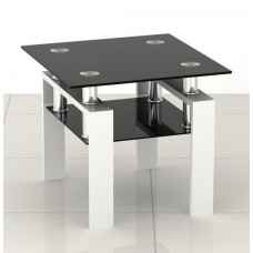 Square Black Glass Coffee Side End Table with White Legs
