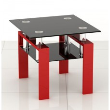 Square Black Glass Coffee Side End Table with Red Legs