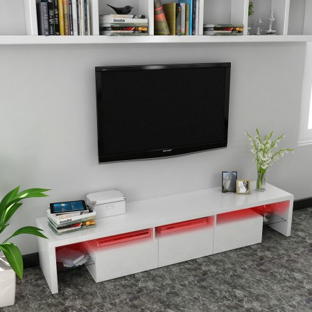 Black or White Glossy MDF TV Stand with Colour Change LED lights