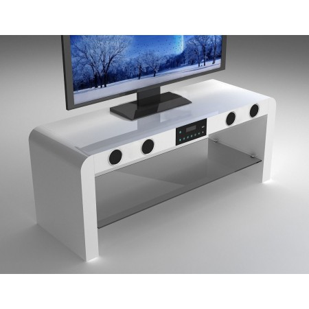 White Gloss TV Stand with Built-In Bluetooth Speakers & USB Music Play