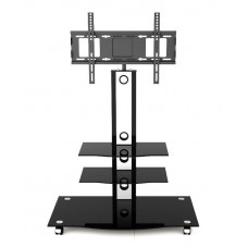 Universal Silver & Black Glass TV Stand with TV Bracket 22 to 42 inches