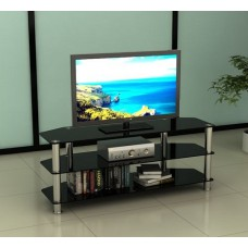 Black Glass and Stainless Steel TV Stand 32 to 60 inches