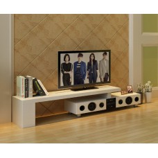 White High Gloss TV Stand with Built-In Bluetooth Speakers for up to 72 inches