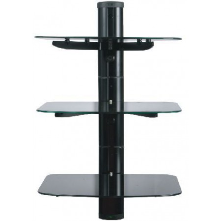 Glass Floating TV Wall Mount with 3 Shelves